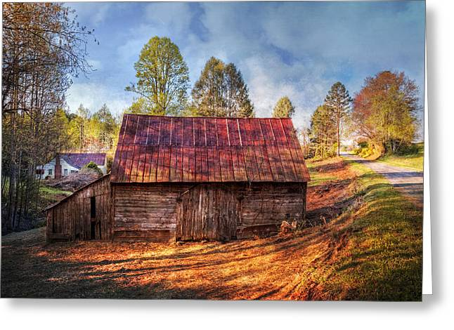 Red Roofed Barn Greeting Cards - Rural Country Road Greeting Card by Debra and Dave Vanderlaan