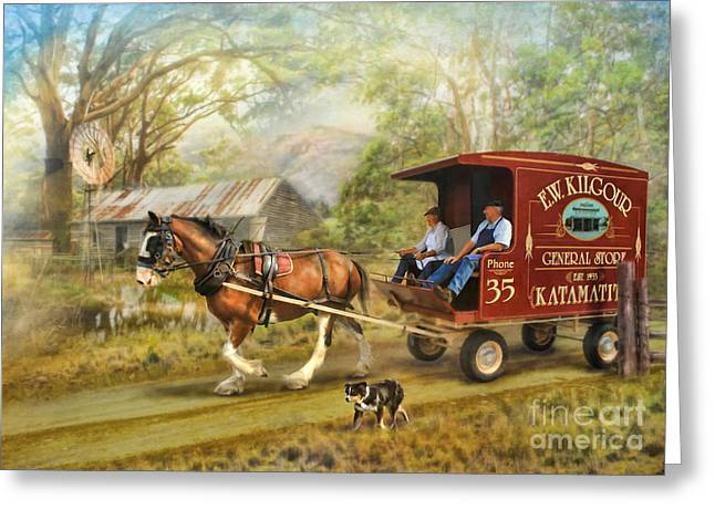 Horse And Cart Greeting Cards - Rural Deliveries Greeting Card by Trudi Simmonds