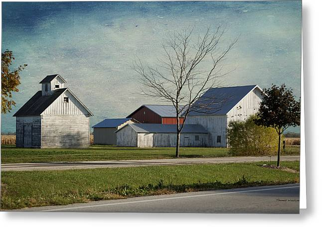 Old House Photographs Digital Art Greeting Cards - Rural Farm Central IL Textured Sky Greeting Card by Thomas Woolworth