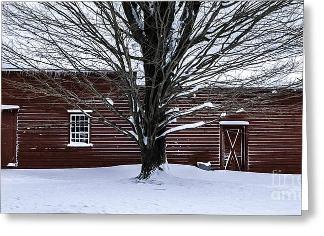 New England Village Greeting Cards - Rural Farmhouse Simplicity - A Winter Scenic Greeting Card by Thomas Schoeller