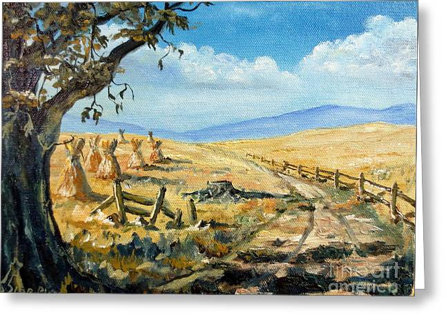 Mountain Road Greeting Cards - Rural Farmland Americana Folk Art Autumn Harvest Ranch Greeting Card by Lee Piper