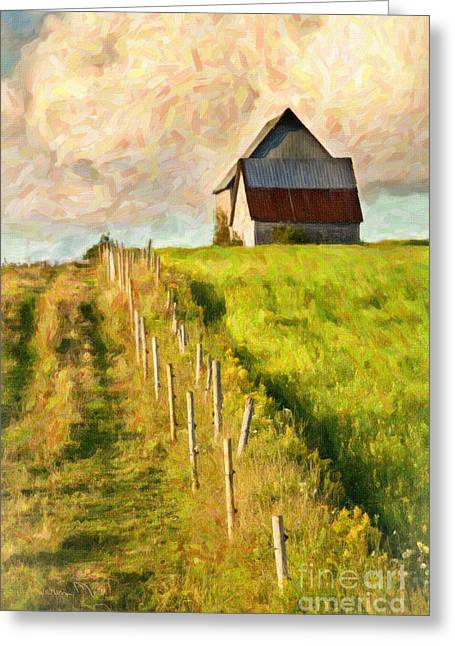 Old Fence Posts Digital Greeting Cards - Rural Farmland Greeting Card by Verena Matthew
