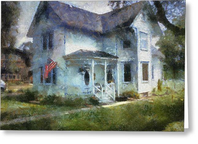 Residential Structure Digital Greeting Cards - Rural Front Porch With USA Flag Greeting Card by Thomas Woolworth