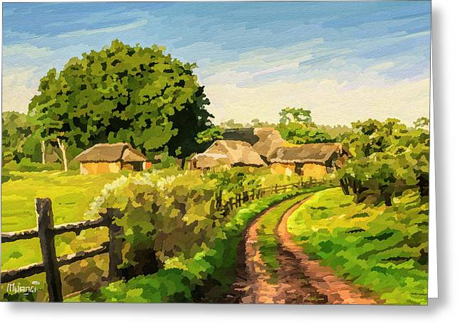 Eco-village Greeting Cards - Rural Home Greeting Card by Anthony Mwangi