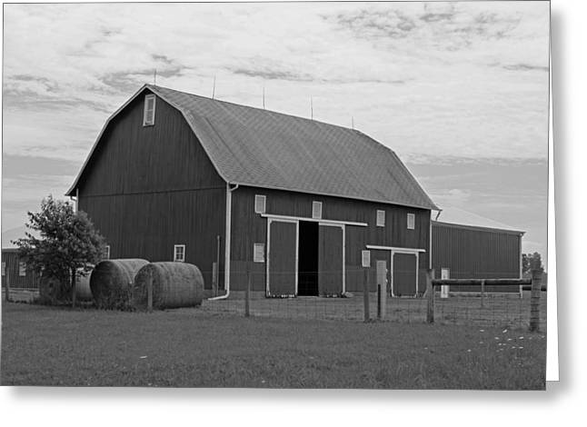 Barn Landscape Photographs Greeting Cards - Rural Indiana Barn II - Black and White Greeting Card by Suzanne Gaff