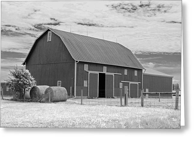 Barn Landscape Photographs Greeting Cards - Rural Indiana Barn II - Infrared Greeting Card by Suzanne Gaff