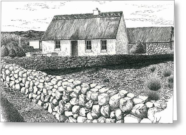Pen And Ink Rural Drawings Greeting Cards - Rural Irish Cottage Greeting Card by Jimmy McAlister