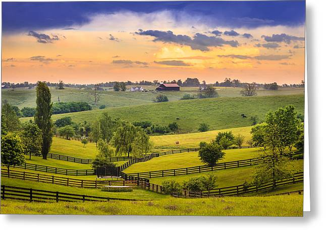 Bluegrass Greeting Cards - Rural Kentucky Greeting Card by Alexey Stiop