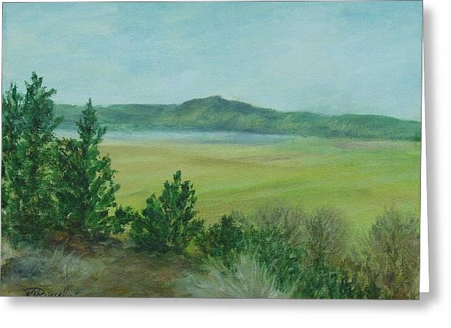 K Joann Russell Greeting Cards - Rural Landscape Art Original Colorful Oil Painting Swan Lake Oregon  Greeting Card by K Joann Russell