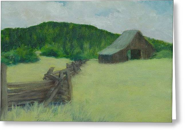 K Joann Russell Greeting Cards - Rural Landscape Colorful Oil Painting Barn Fence Greeting Card by K Joann Russell
