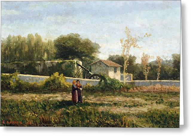 Genoa Paintings Greeting Cards - Rural landscape Greeting Card by Ernesto Rayper