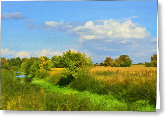 Lush Green Mixed Media Greeting Cards - Rural Landscape Greeting Card by Gynt