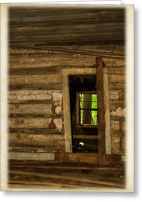 Log Cabin Interiors Greeting Cards - Rural Life During The Depression Greeting Card by Lena Wilhite
