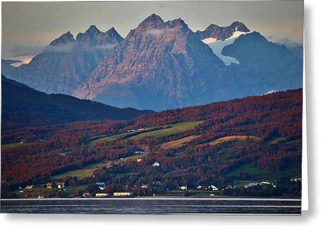 Norwegian Sunset Greeting Cards - Rural Lyngenalp Autumn Fjordland Greeting Card by David Broome