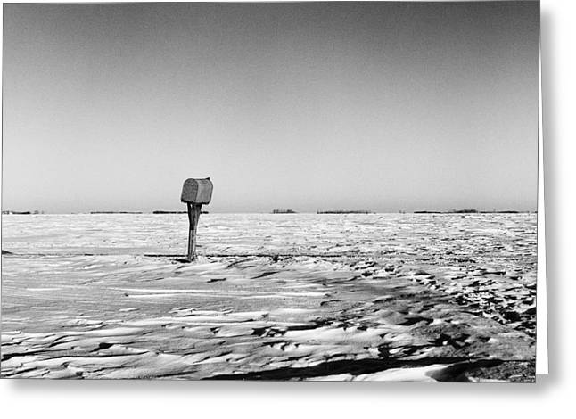 Mid West Landscape Art Greeting Cards - Rural Mail Box in Winter - North Dakota - Prairie Greeting Card by Donald  Erickson