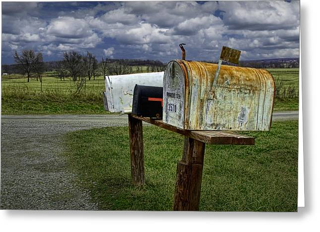 Postal Greeting Cards - Rural Mailboxes along a Country Road Greeting Card by Randall Nyhof