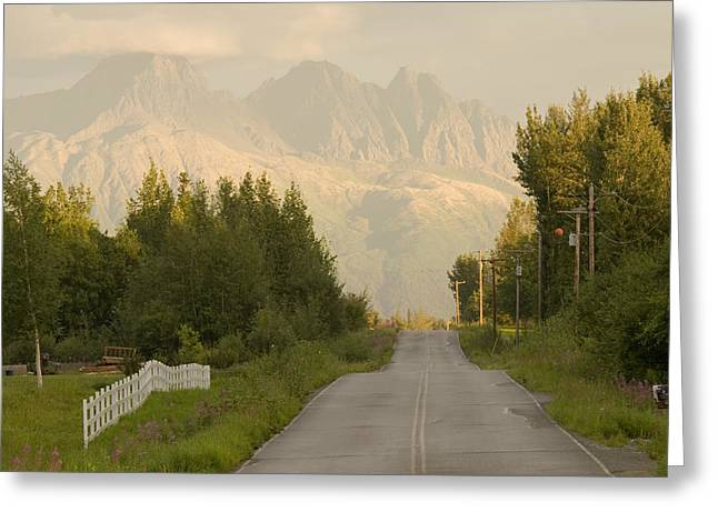 Matsu Greeting Cards - Rural Road Leading To View Of Chugach Greeting Card by Doug Demarest