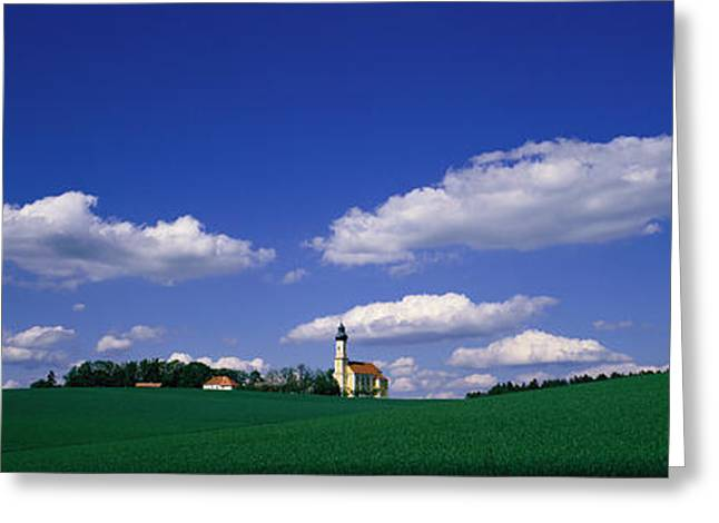 Pasture Scenes Greeting Cards - Rural Scene With Church, Near Greeting Card by Panoramic Images