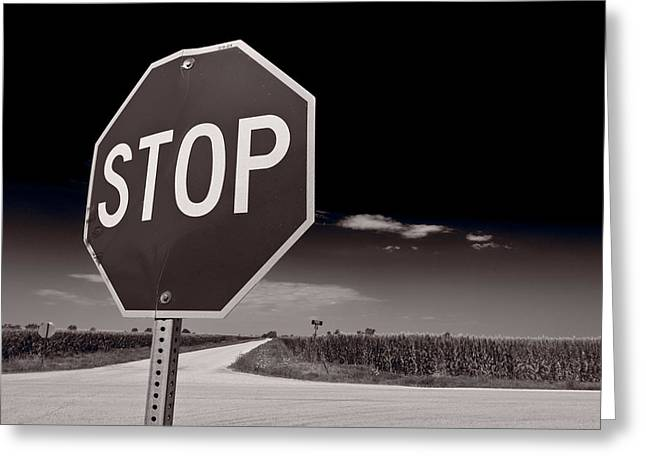 Signed Greeting Cards - Rural Stop Sign BW Greeting Card by Steve Gadomski