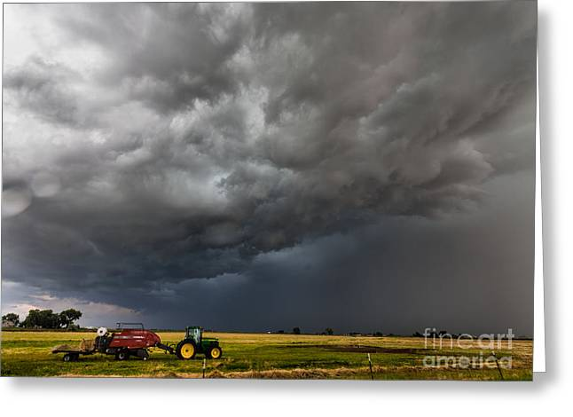 Turbulent Skies Greeting Cards - Rural Storm Greeting Card by Steven Reed