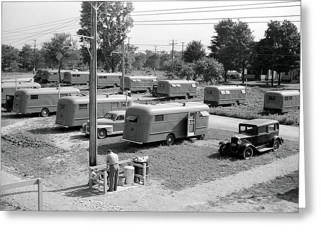Trailer Park Greeting Cards - Rural Trailer Park - 1941 Greeting Card by Daniel Hagerman