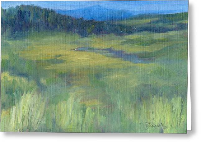 K Joann Russell Greeting Cards - Rural Valley Landscape Colorful Original Painting Washington State Water Mountains K. Joann Russell Greeting Card by K Joann Russell