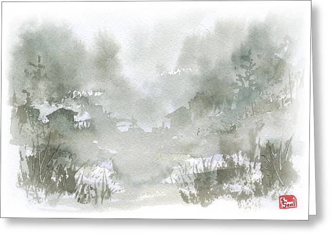 Chinese Landscape Greeting Cards - Rural Valley Greeting Card by Sean Seal
