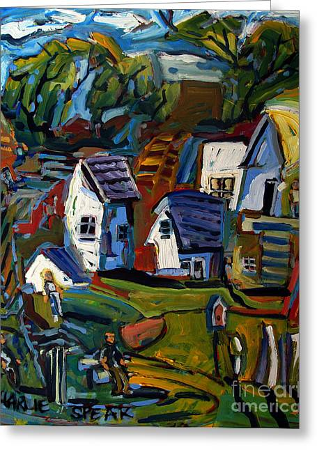 Distortion Paintings Greeting Cards - Rural Wahenberg Greeting Card by Charlie Spear
