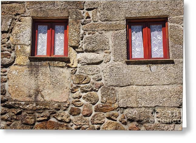 Brown Building Greeting Cards - Rural Windows Greeting Card by Carlos Caetano