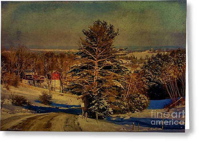Vermont Winter Greeting Cards - Rural Winter In Vermont Greeting Card by Deborah Benoit