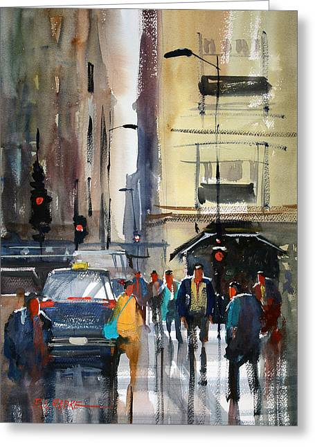 Figures Paintings Greeting Cards - Rush Hour 2 - Chicago Greeting Card by Ryan Radke
