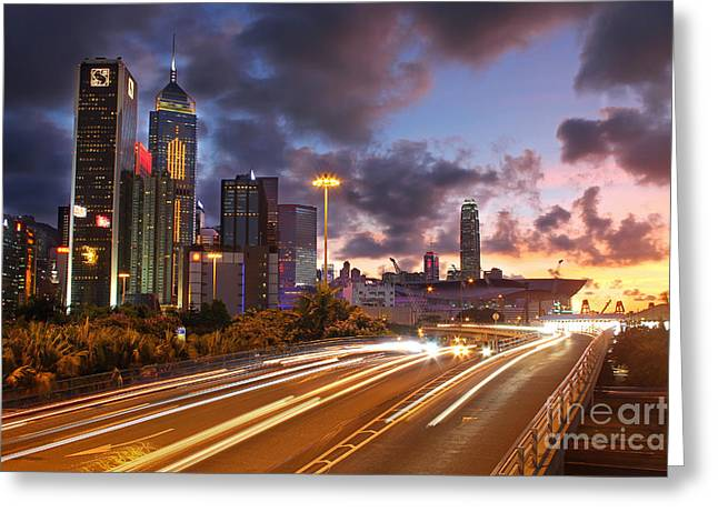 Convention Center Greeting Cards - Rush Hour during Sunset in Hong Kong Greeting Card by Lars Ruecker
