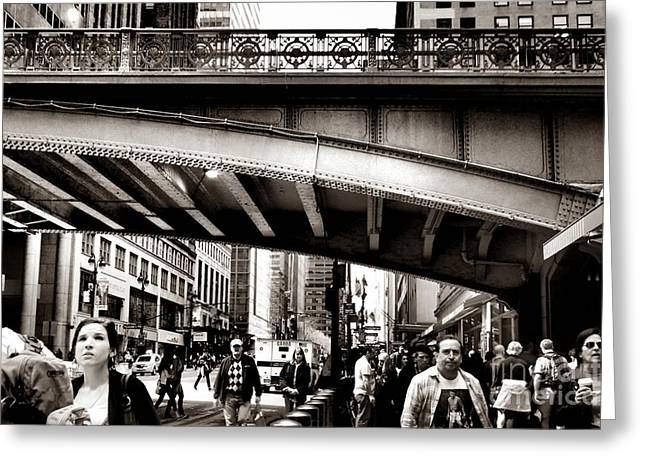 Workday Greeting Cards - Rush Hour - New York City Street Scene Greeting Card by Miriam Danar