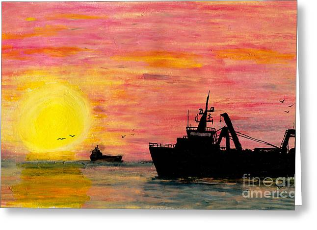 Masts Pastels Greeting Cards - Rush Hour Greeting Card by R Kyllo