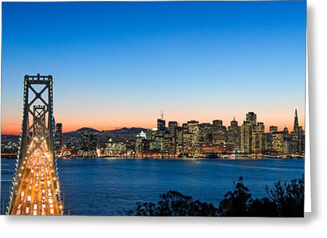 Rush Hour Greeting Cards - Rush Hour Traffic On The Bay Bridge Greeting Card by Panoramic Images