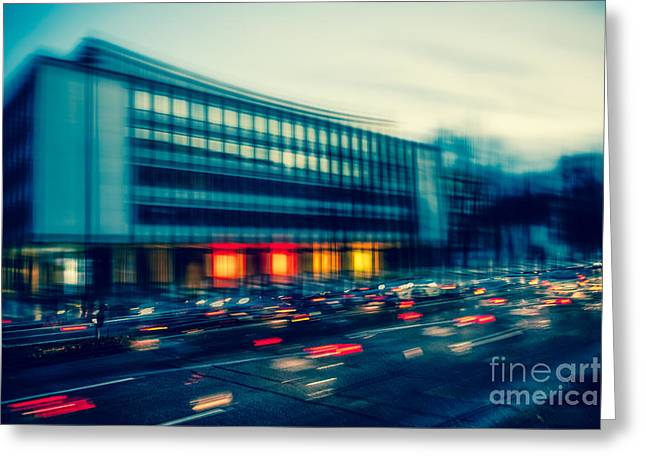 Longtime Exposure Greeting Cards - Rush Hour - vintage Greeting Card by Hannes Cmarits