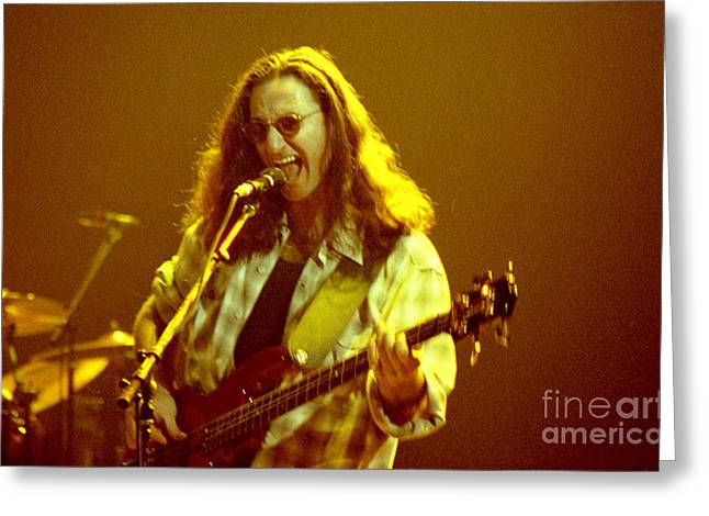 Live Music Greeting Cards - RUSH92-Geddy-A004 Greeting Card by Timothy Bischoff
