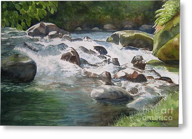 Watercolor! Art Greeting Cards - Rushing River in Costa Rica Greeting Card by Sharon Freeman
