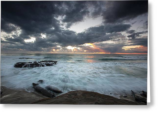 Winter Storm Photographs Greeting Cards - Rushing Seas Greeting Card by Peter Tellone