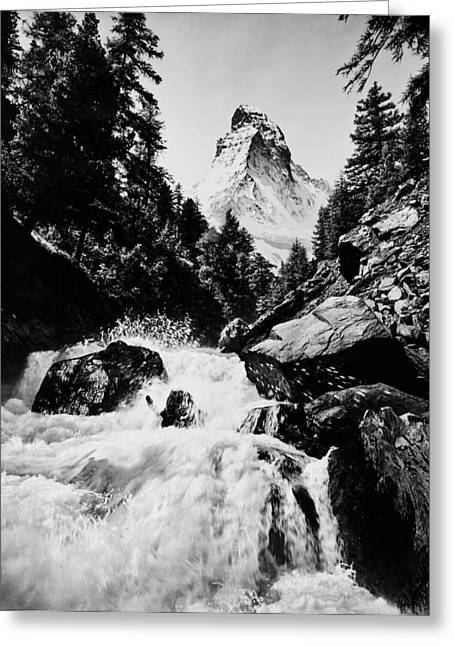 Rushing Stream Greeting Cards - Rushing stream and Matterhorn Alps Greeting Card by Digital Reproductions