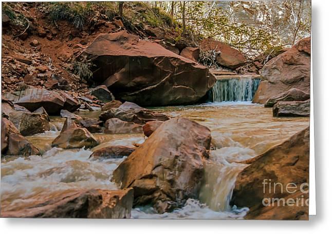 Navajo Basin Greeting Cards - Rushing Virgin River Greeting Card by Robert Bales