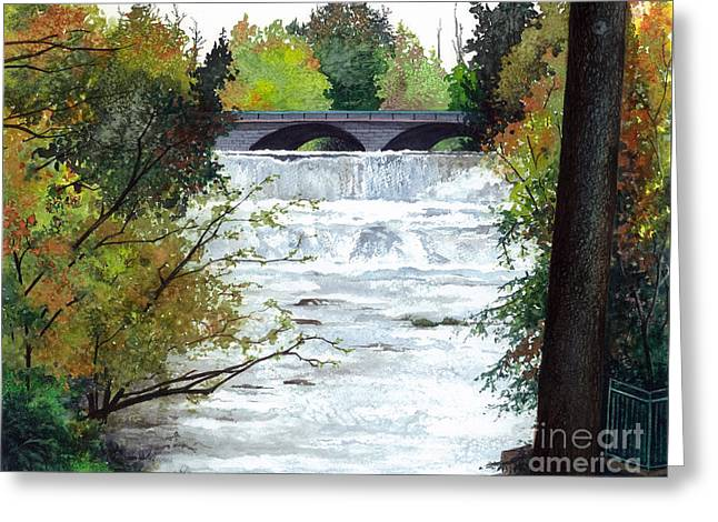 Rivers In The Fall Paintings Greeting Cards - Rushing Water - Quiet Thoughts Greeting Card by Barbara Jewell