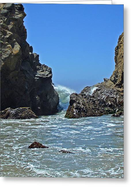 Big Sur Ca Paintings Greeting Cards - Rushing Wave - Big Sur Greeting Card by Phoenix The Moody Artist