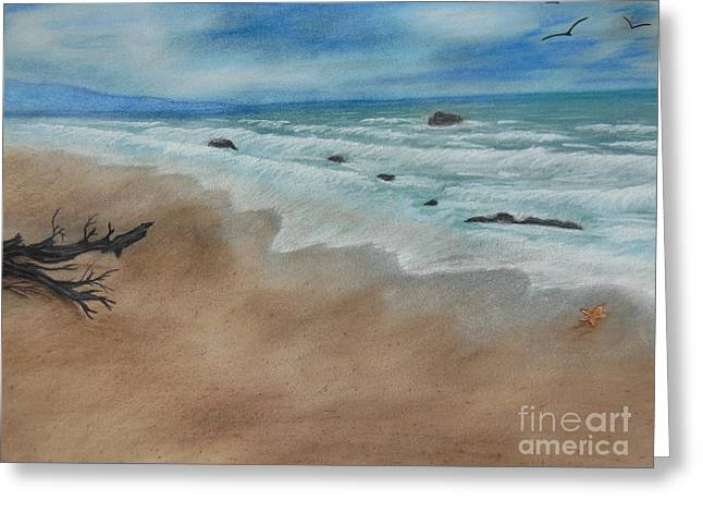 Seashore Pastels Greeting Cards - Rushing waves on shore Greeting Card by Nicole Poston