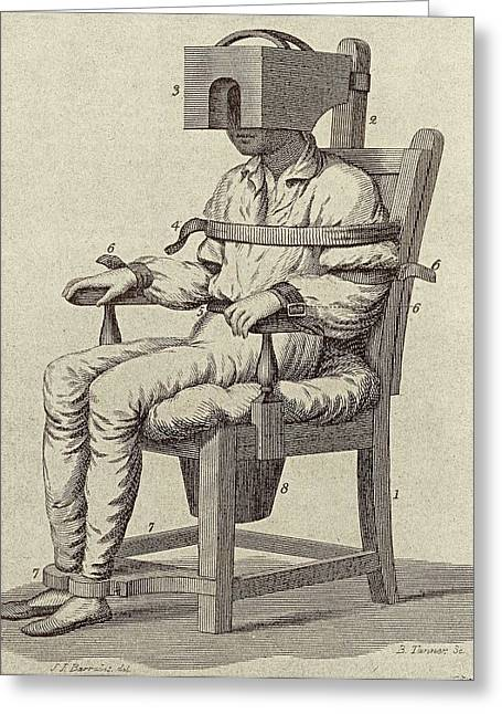 Rush's Tranquiliser Chair Greeting Card by American Philosophical Society