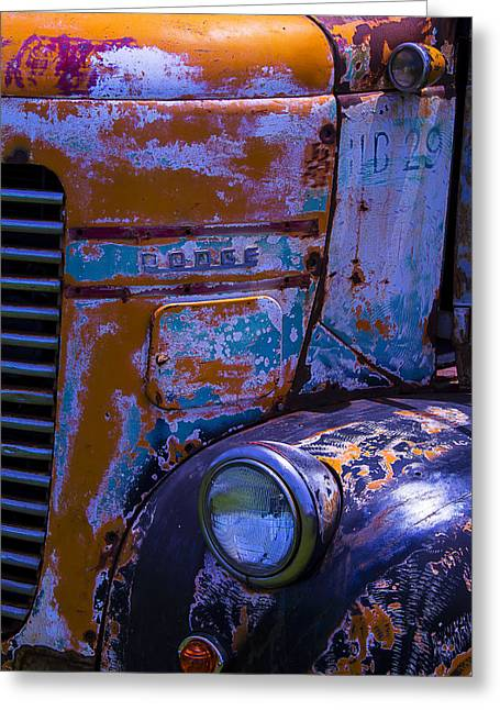 Worn Out Greeting Cards - Rusrty Old Dodge Truck Greeting Card by Garry Gay