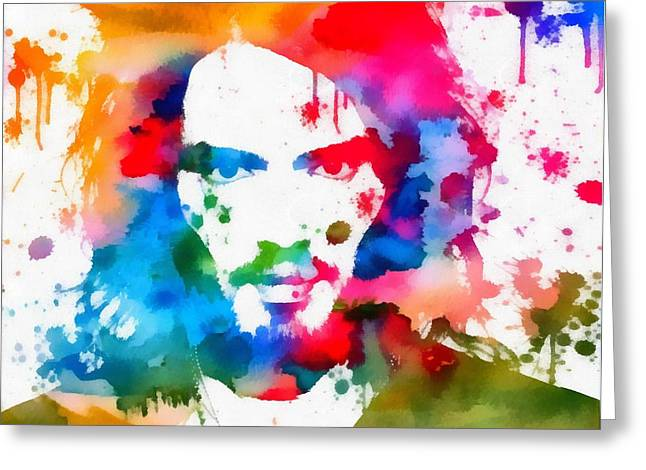 Comedian Mixed Media Greeting Cards - Russell Brand Paint Splatter Greeting Card by Dan Sproul