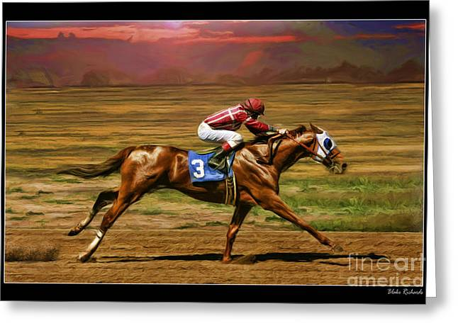 Horse Websites Greeting Cards - Russell Baze On Candys Jewel  Greeting Card by Blake Richards
