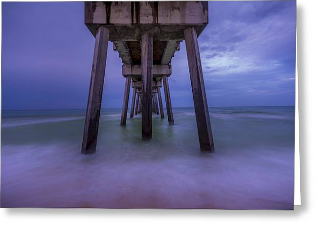 Recently Sold -  - Ocean Landscape Greeting Cards - Russell Fields Pier Greeting Card by David Morefield