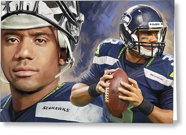 Nfl Mixed Media Greeting Cards - Russell Wilson Artwork Greeting Card by Sheraz A